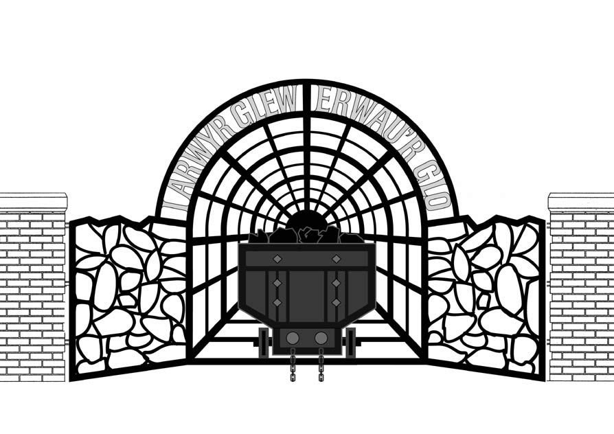 Illustration of gates, showing how the finished piece will look.