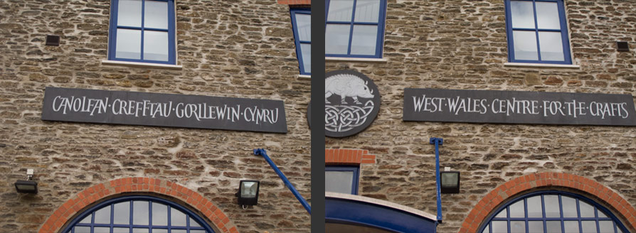 Close up of Plaques for West Wales Craft Center