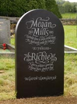 view flowing italic Headstones