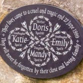 Circular plaque design inlaid into a boulder.